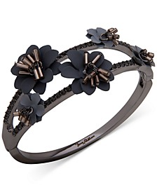 Hematite-Tone Crystal & Imitation Pearl Flower Bangle Bracelet