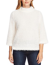 Eyelash-Striped Mock-Neck Top