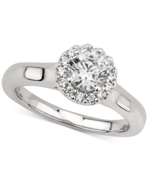 Gia Certified Diamond Halo Engagement Ring (3/4 ct. t.w.) in 14k White Gold