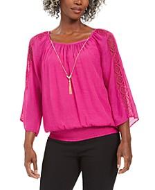 Textured Crochet-Sleeve Necklace Gauze Top, Created for Macy's