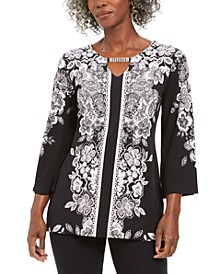 Petite Printed Keyhole Blouse, Created For Macy's