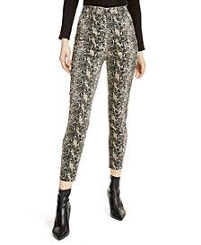 Vanilla Star Juniors' Snake Print High-Rise Jeans