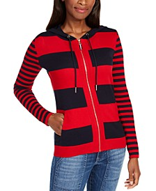 Striped Zip-Front Cotton Hooded Top