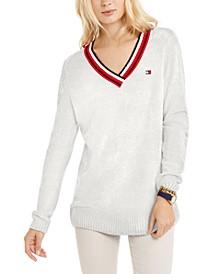 Chenille Varsity V-Neck Sweater