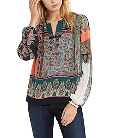 Mixed-Print Split-Neck Top, Created For Macy's