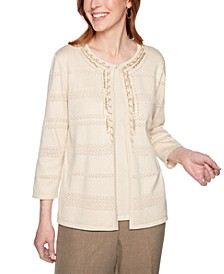 Plus Size Boardroom Metallic Embellished Layered-Look Sweater