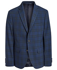 Big Boys Classic-Fit Stretch Navy Blue/Green Plaid Sport Coat