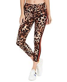 Animal-Print Striped High-Waist Leggings