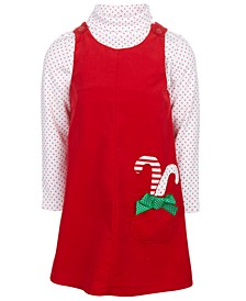 Little Girls 2-Pc. Holiday Corduroy Jumper & Dot-Print Turtleneck