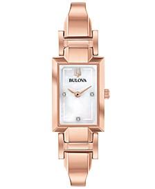 Women's Diamond-Accent Rose Gold-Tone Stainless Steel Bangle Bracelet Watch 18x33mm