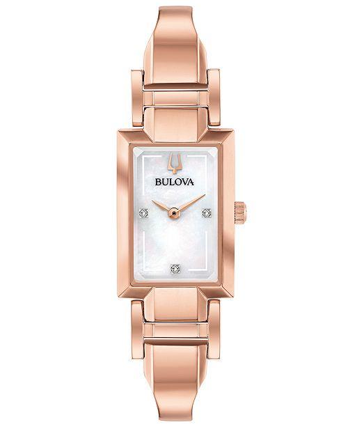 Bulova Women's Diamond-Accent Rose Gold-Tone Stainless Steel Bangle Bracelet Watch 18x33mm