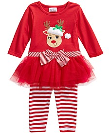 Baby Girls 2-Pc. Reindeer Tutu Tunic & Striped Leggings Set