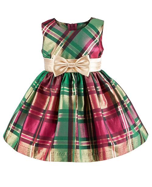 Bonnie Baby Baby Girls Metallic Plaid Taffeta Dress