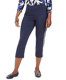 Petite Diamonte Side-Striped Capri Pants, Created for Macy's