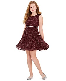 Big Girls Plus-Size Glitter Lace Dress