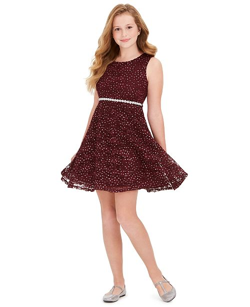 Speechless Big Girls Plus-Size Glitter Lace Dress