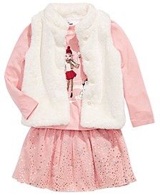 Toddler Girls Faux-Fur Vest, Snow Girls Top & Reversible Skirt, Created For Macy's