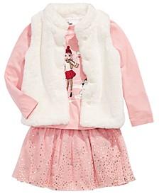 Little Girls Faux-Fur Vest, Snow Girls Top & Reversible Skirt, Created For Macy's