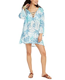 Printed Lace-Up Swim Cover-Up Tunic