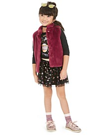 Toddler Girls Faux-Fur Vest, T-Shirt & Tulle Skirt, Created For Macy's