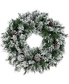 """24"""" Flocked Angel Pine with Pine Cones Artificial Christmas Wreath - Unlit"""