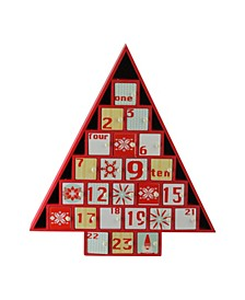 "14"" Rustic Red and White Christmas Tree Shaped Advent Calendar Decoration"