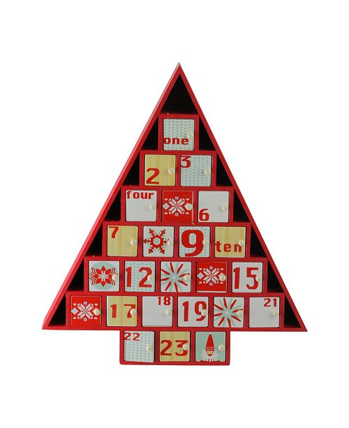 """Northlight 14"""" Rustic Red and White Christmas Tree Shaped Advent Calendar Decoration"""