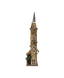 """23.5"""" LED Lighted Brown Wooden Church with Tower Christmas Decoration"""