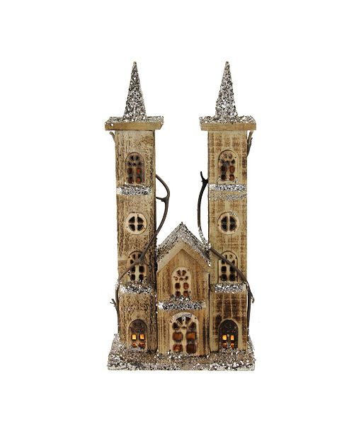 "Northlight 15.75"" LED Lighted Double Tower Brown Wooden Church Christmas Decoration"