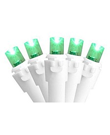 Set of 50 Green LED Wide Angle Christmas Lights - White Wire