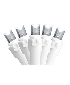 Set of 100 Pure White LED Wide Angle Christmas Lights - White Wire