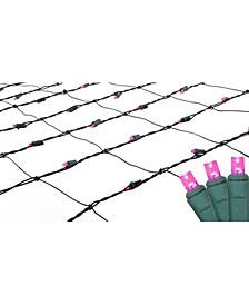 4' x 6' Raspberry LED Wide Angle Christmas Net Lights - Green Wire
