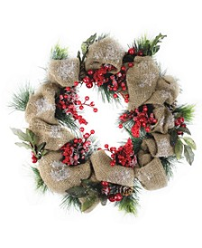 Snow Dusted Country Rustic Artificial Christmas Wreath with Berries and Pine Cones - Unlit