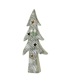 """30"""" LED Lighted Battery Operated Rustic Glittered Christmas Tree Table Top Decoration"""