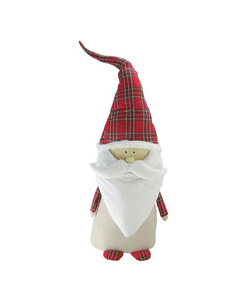 "Northlight 26"" Beige and Red Santa Claus Gnome with Plaid Hat Christmas Decoration"