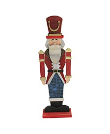 """21"""" Red and Blue Painted Wooden Standing LED Decorative Nutcracker"""