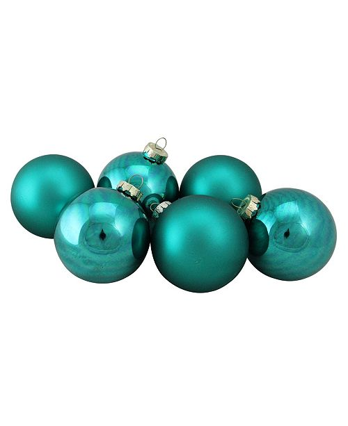 "Northlight 6-Piece Shiny and Matte Turquoise Blue Glass Ball Christmas Ornament Set 3.25"" 80mm"
