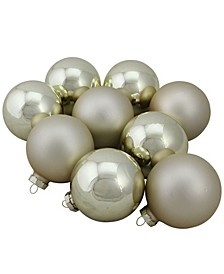 "9-Piece Shiny and Matte Gold Glass Ball Christmas Ornament Set 2.5"" 65mm"