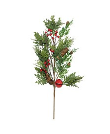 """28"""" Bells Berries and Pine Cone Christmas Spray"""