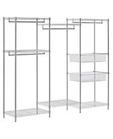 White Wire 6-Shelves 4-Hanger Bars Room Steel Closet System Organizer