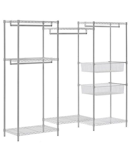 Edsal White Wire 6-Shelves 4-Hanger Bars Room Steel Closet System Organizer
