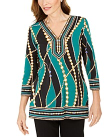 Petite 3/4-Sleeve Embellished Top, Created for Macy's