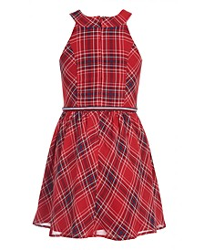 Toddler Girls Plaid Chiffon Dress