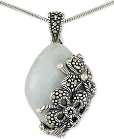 "Jade (18 x 25 x 5mm) & Marcasite Floral 18"" Pendant Necklace in Sterling Silver"