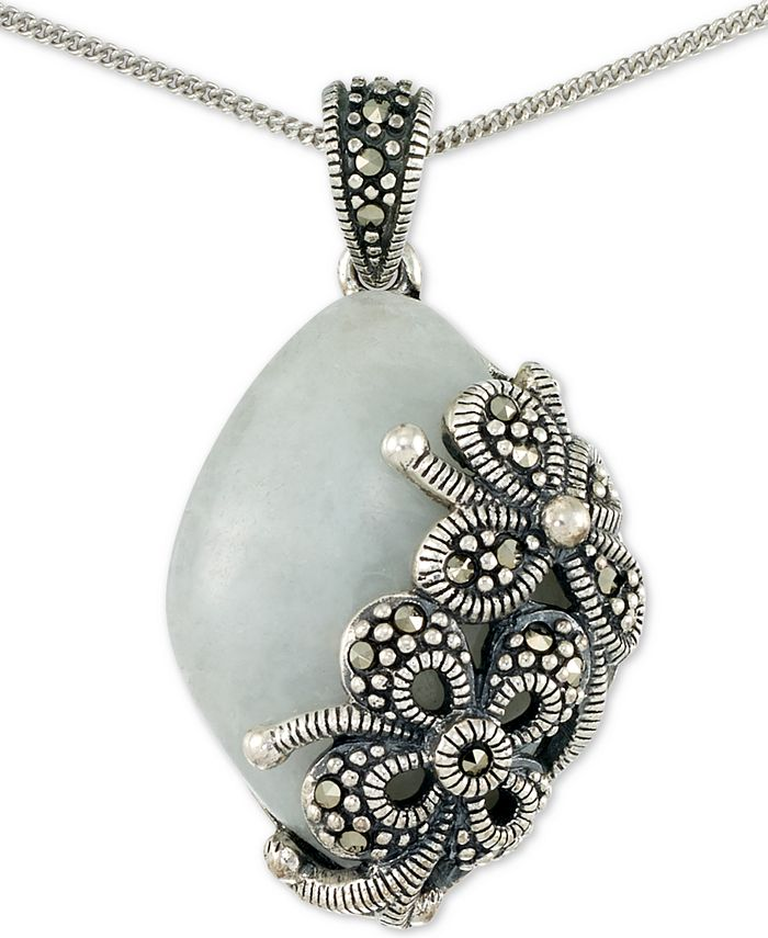 """Macy's - Jade (18 x 25 x 5mm) & Marcasite Floral 18"""" Pendant Necklace in Sterling Silver"""