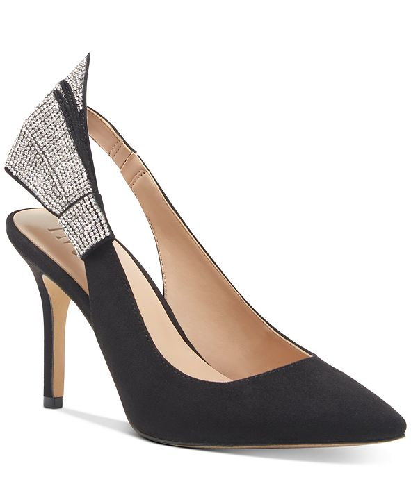 INC International Concepts INC Women's Cersei Slingback Bling-Bow Heels, Created for Macy's