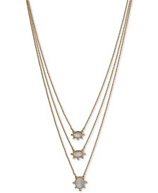 """Gold-Tone Pavé & Mother-of-Pearl Convertible Layered Necklace, 17-1/4"""" + 3"""" extender"""