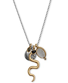 "Two-Tone Pavé, Stone & Imitation Mother-of-Pearl Snake Charm Pendant Necklace, 31"" + 2"" extender"