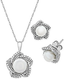 2-Pc. Set Cultured Freshwater Pearl (6 & 7mm) & Diamond Accent Pendant Necklace & Matching Stud Earrings in Sterling Silver