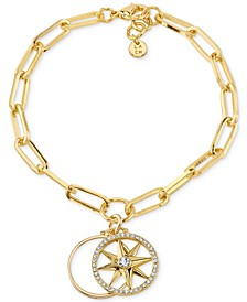Crystal Compass Star Open Disc Silver Plated Charm Bracelet in Gold-Tone Brass